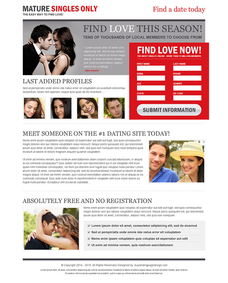 mature singles 2 column lead gen effective and converting landing page design