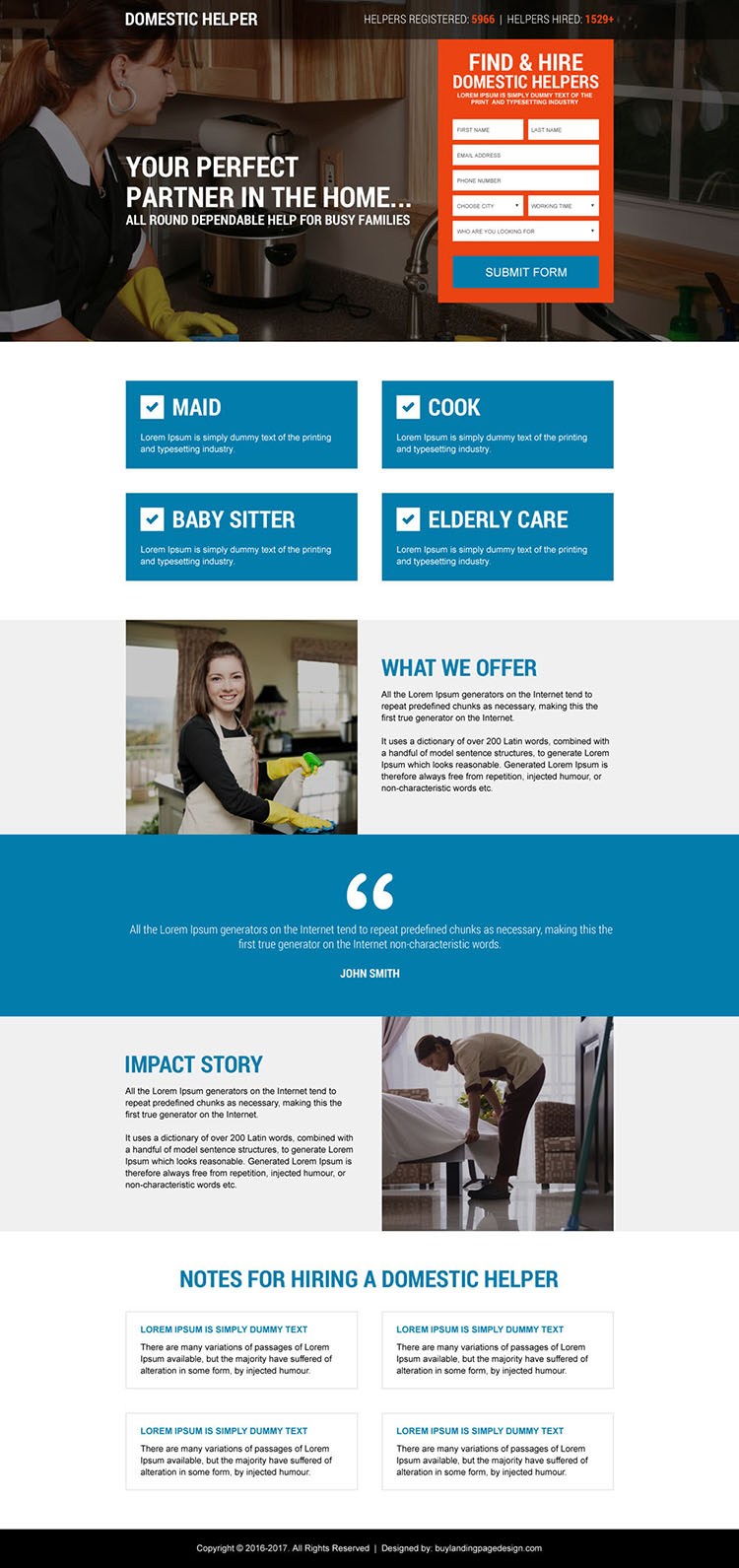 domestic help service lead form landing page design