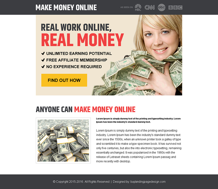 find out real work money online pay per view landing page design