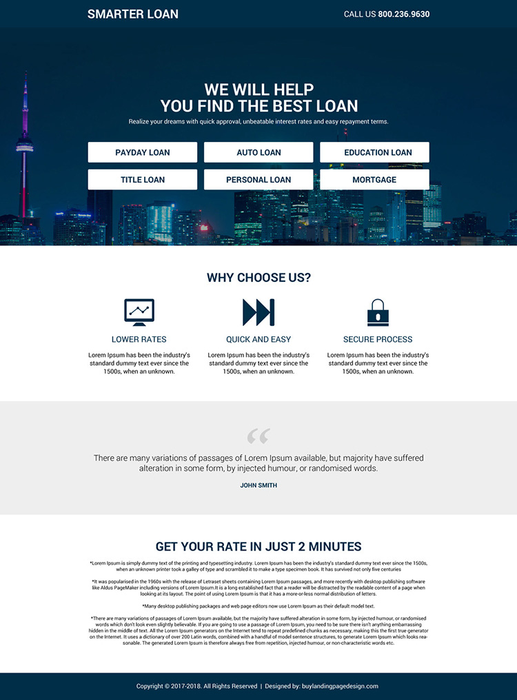 responsive and minimal loan landing page design