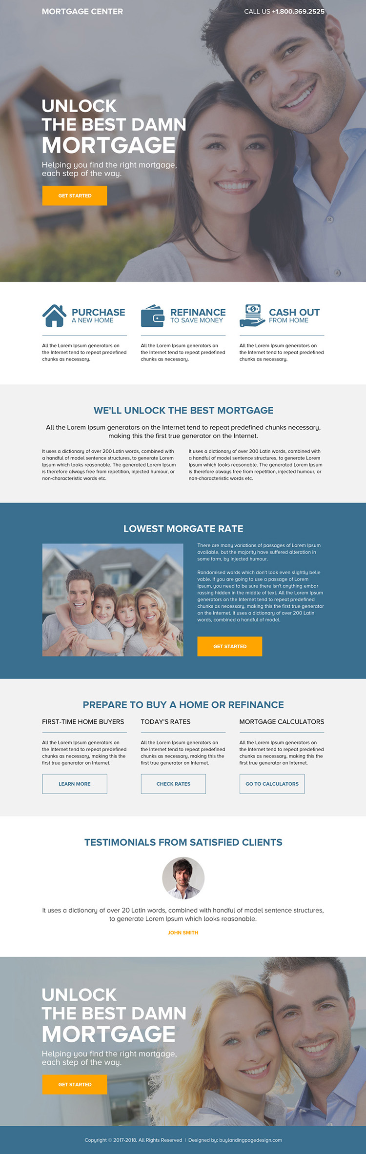 responsive mortgage center call to action landing page design