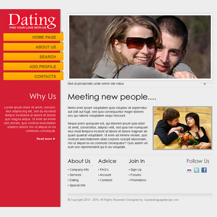 find your love with us clean and minimal dating website design