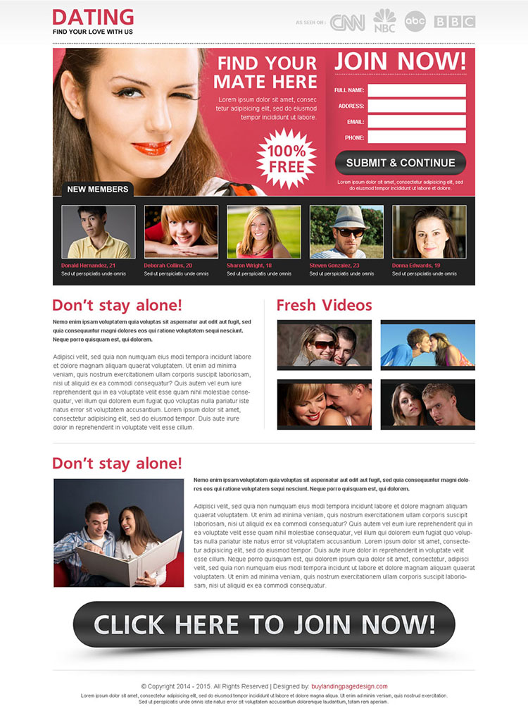 find your mate here join now lead capture squeeze page design