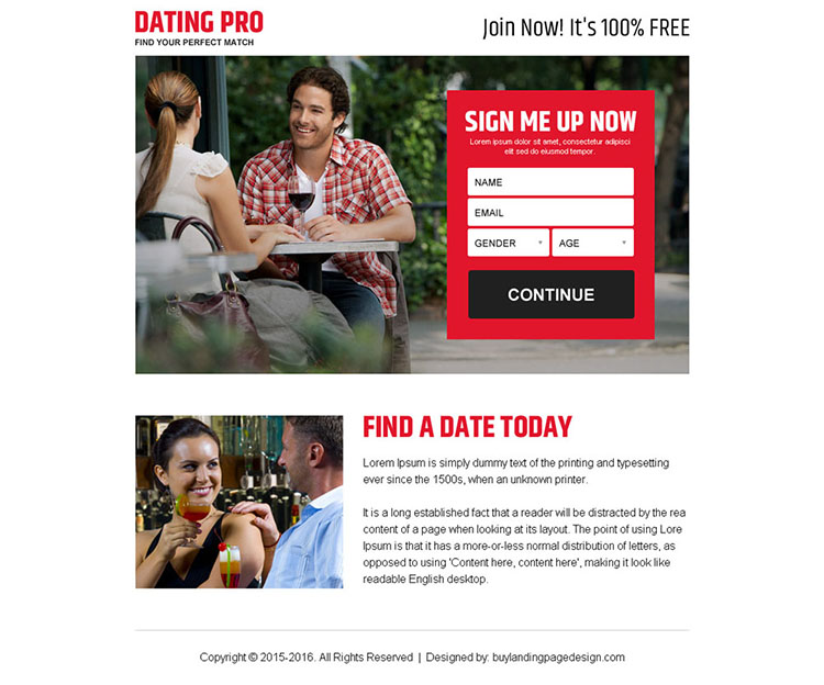 find your perfect match sign up lead capture ppv landing page design