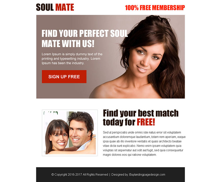 perfect soul mate free membership sign up ppv landing page design