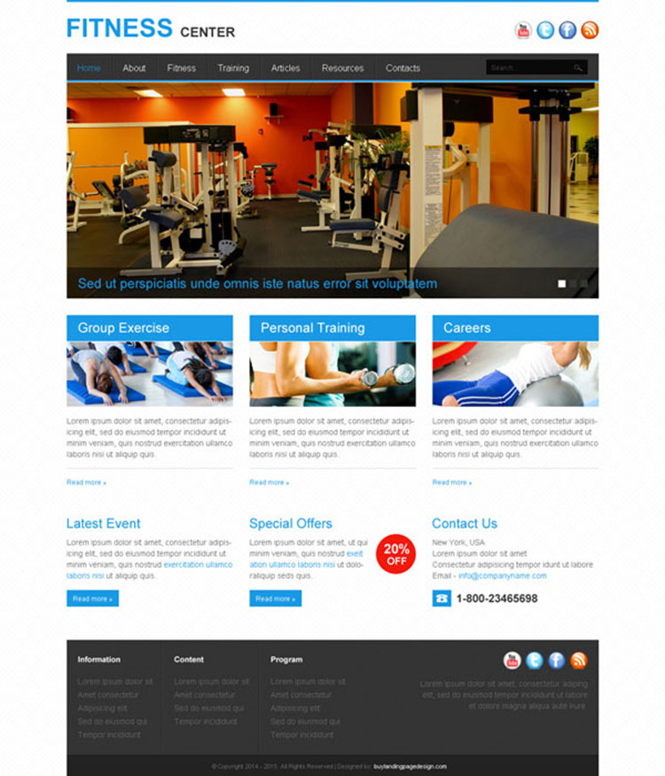informative and converting fitness center website template design psd
