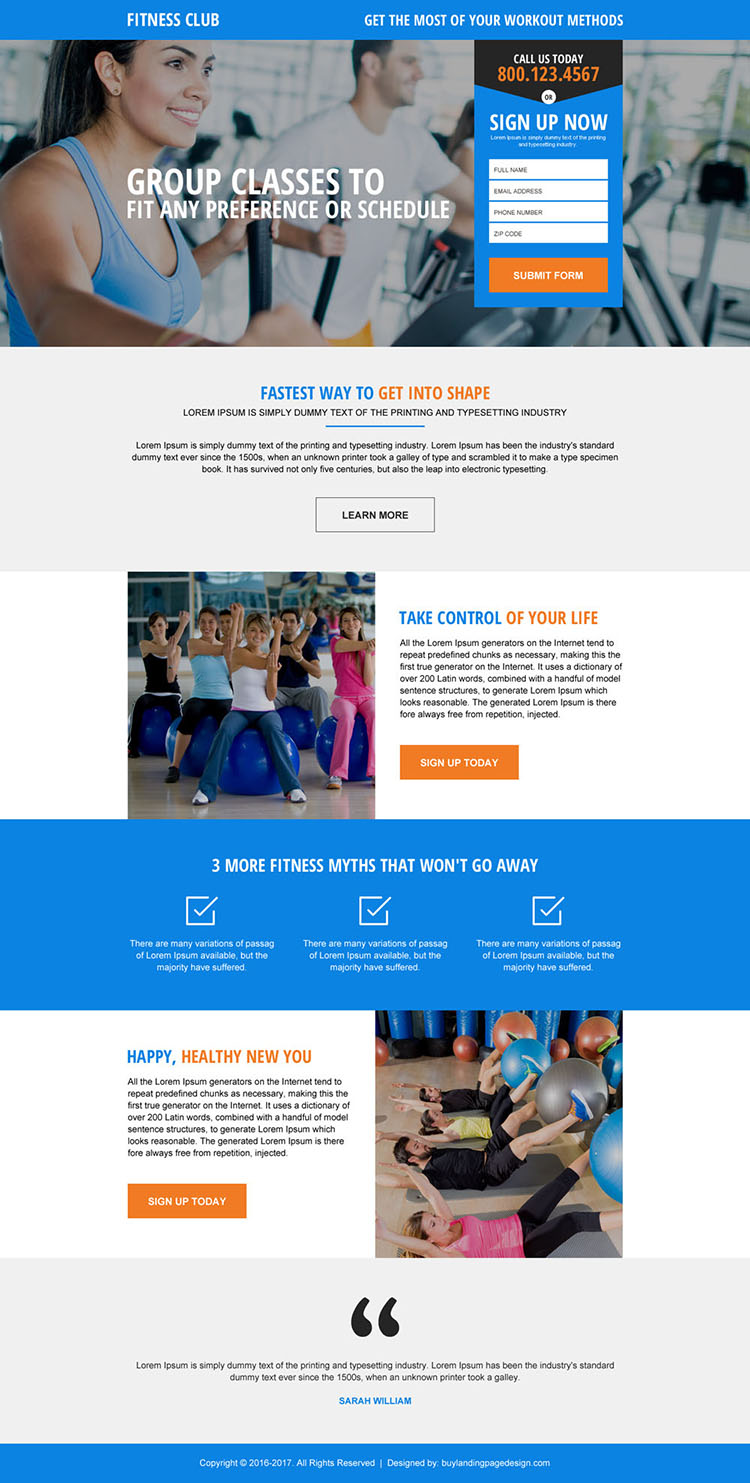 responsive fitness club lead gen landing page design
