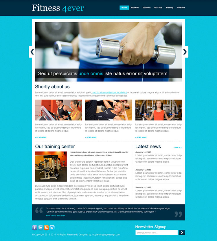 fitness for ever website template design psd