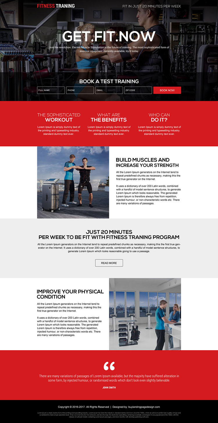 responsive fitness training programs landing page design