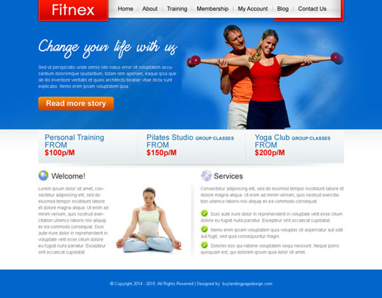 attractive and converting fitness training website template design psd