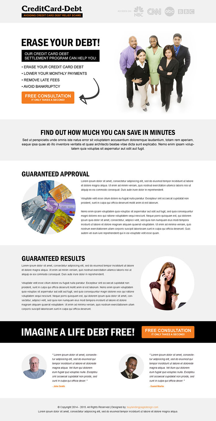 erase your credit card debt clean and minimal looking call to action landing page design