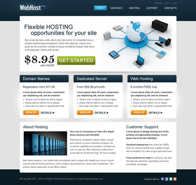 flexible hosting opportunities converting website template psd