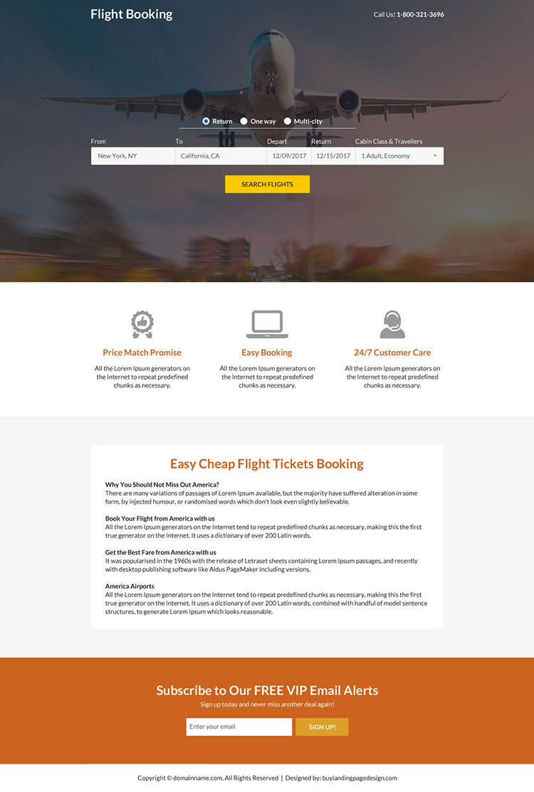 flight ticket booking mini landing page design