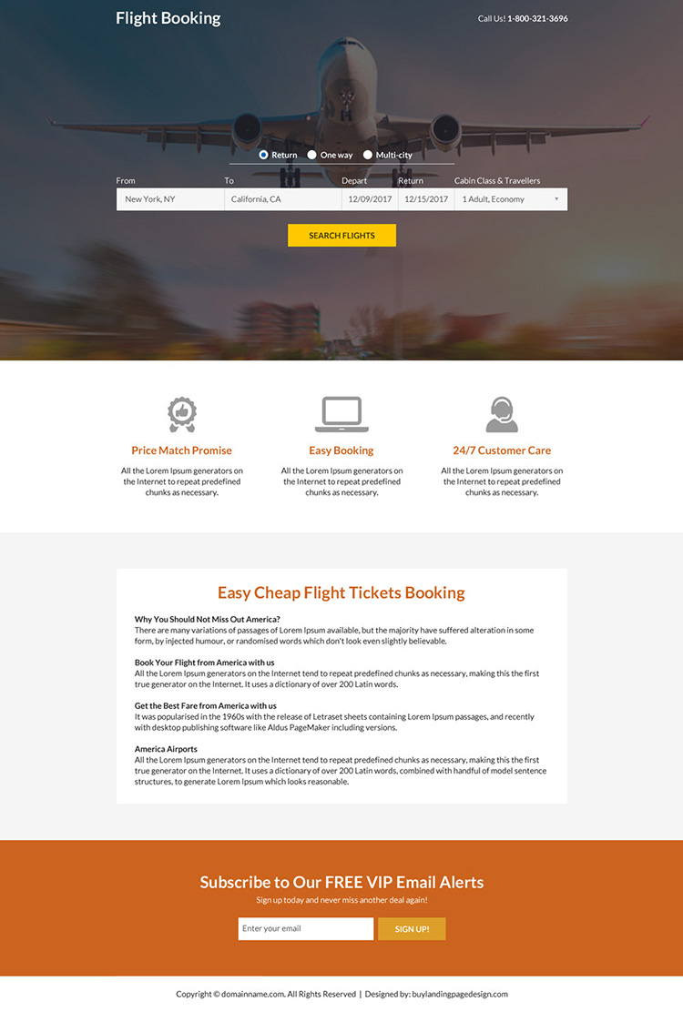 flight ticketing booking mini responsive landing page design