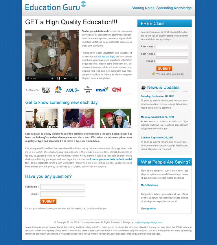 high quality education flog lead capture template