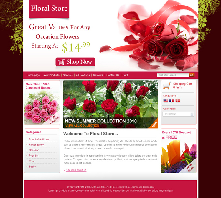online flower store website template design psd for sale