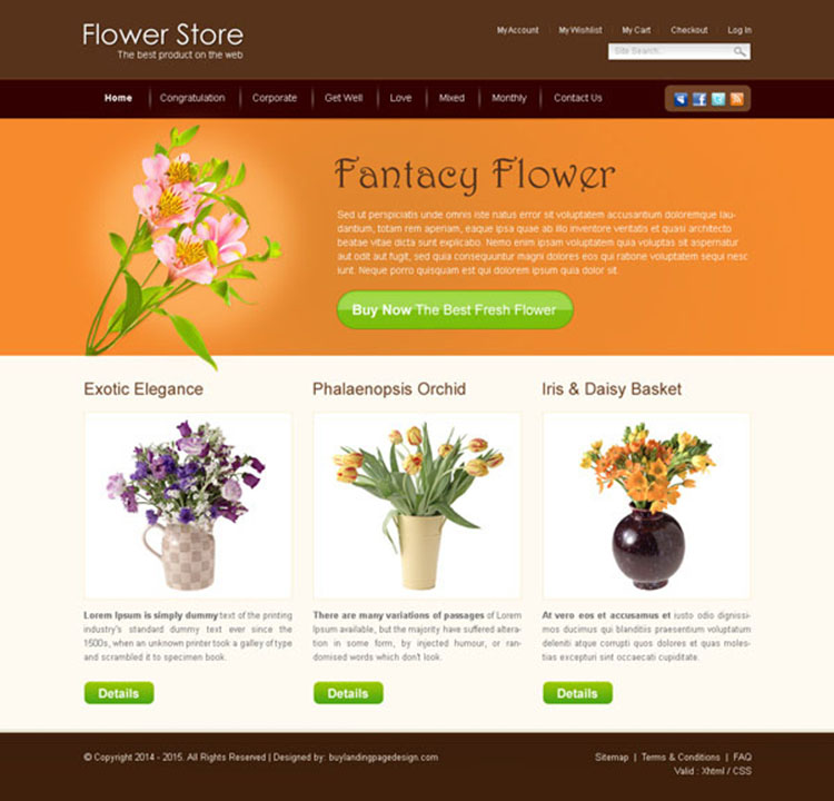 flower store attractive and beautiful website template design psd to create your online store