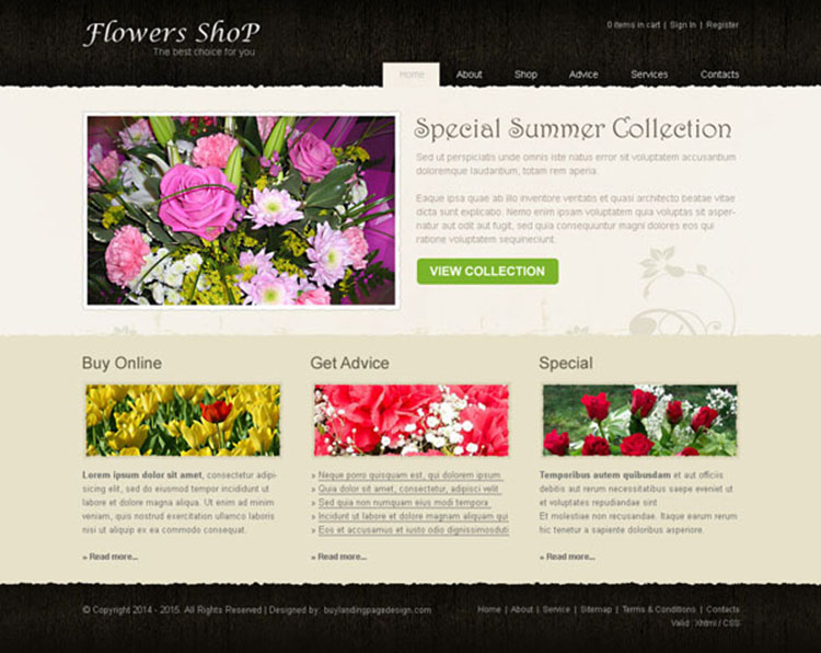 simple and creative flowers shop website template design psd to create your online flowers shop