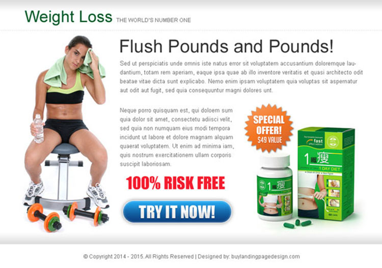 weight loss product lead capture call to action ppv landing page design