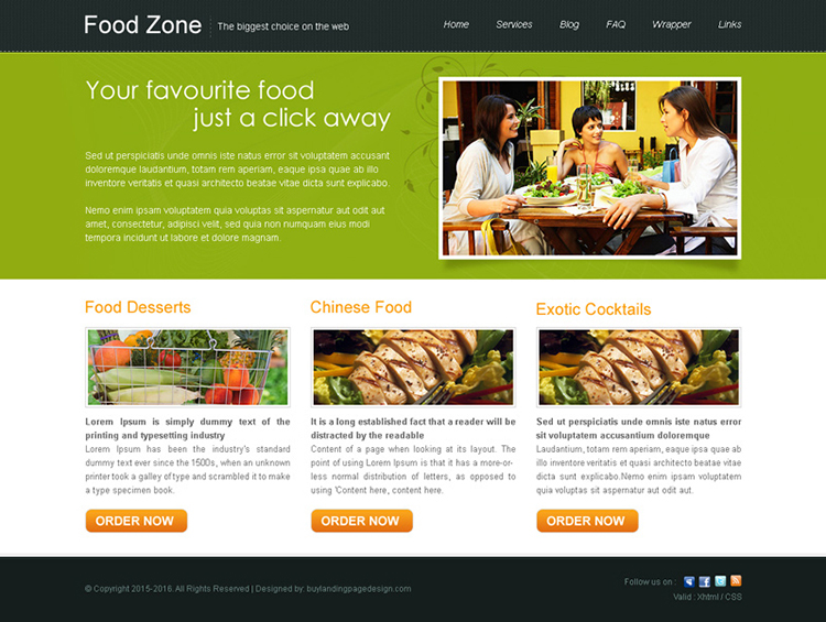 minimal food zone website template design psd for sale