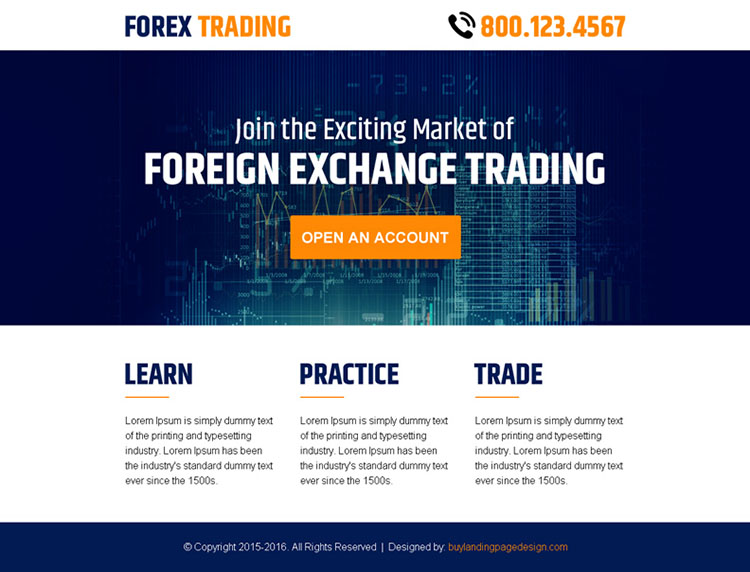 foreign exchange trading account ppv landing page design