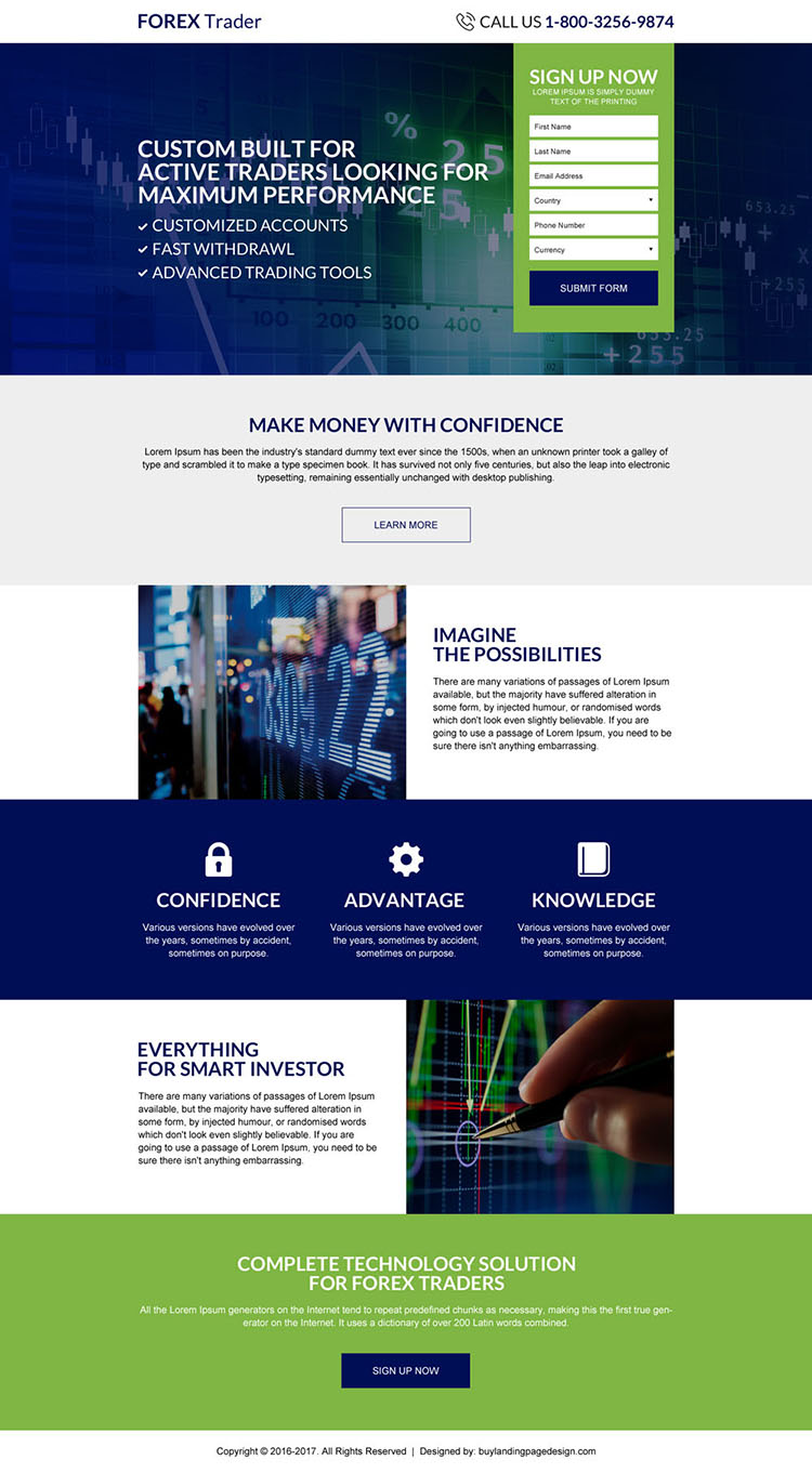 forex trading sign up capturing responsive landing page design
