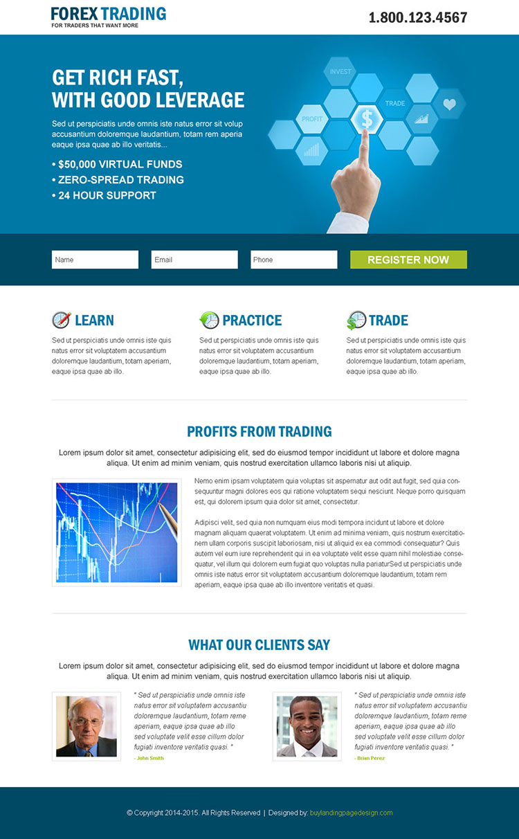 forex trading business professional and clean landing page design template