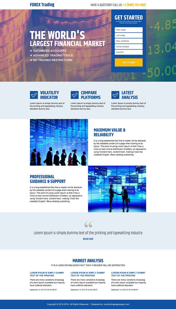 best forex trading financial market lead capture landing page design