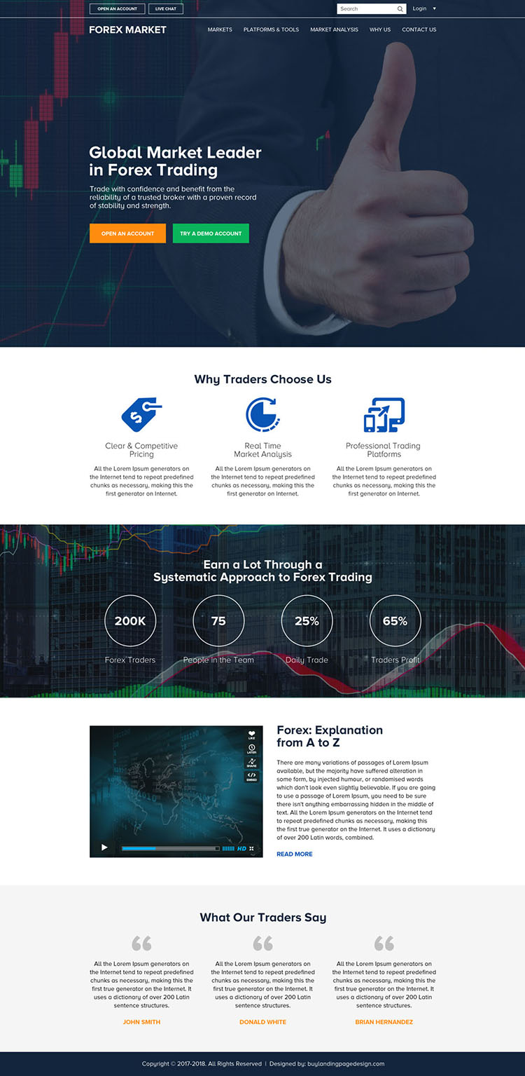 responsive global leader in forex trading html website design