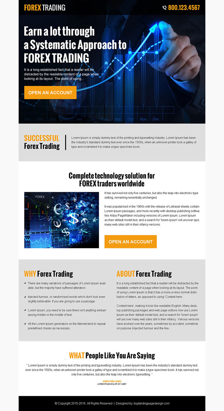forex trading responsive pay per click landing page design
