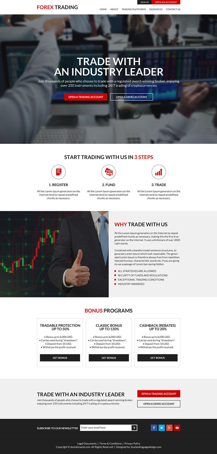 forex trading platforms clean website design
