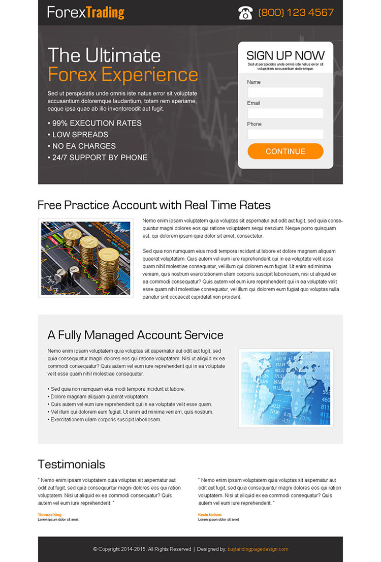 forex trading lead capture responsive landing page design templates to capture leads for online trading business conversion