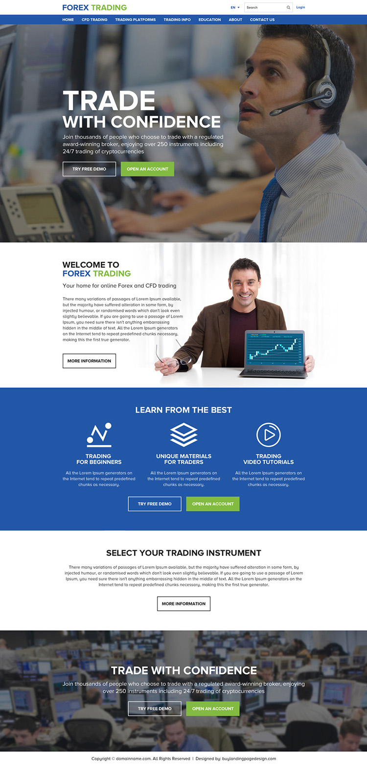 responsive forex trading professional click through website design