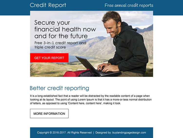 professional free annual credit report ppv landing page design
