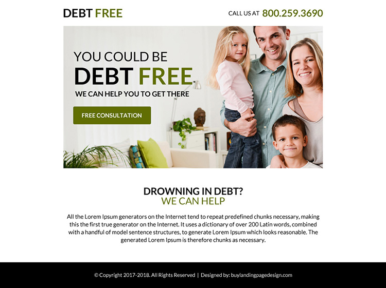 clean debt consultation ppv landing page design