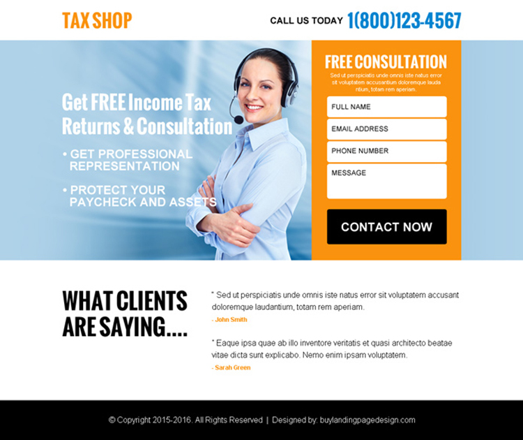 free tax consultation for tax return ppv landing page design