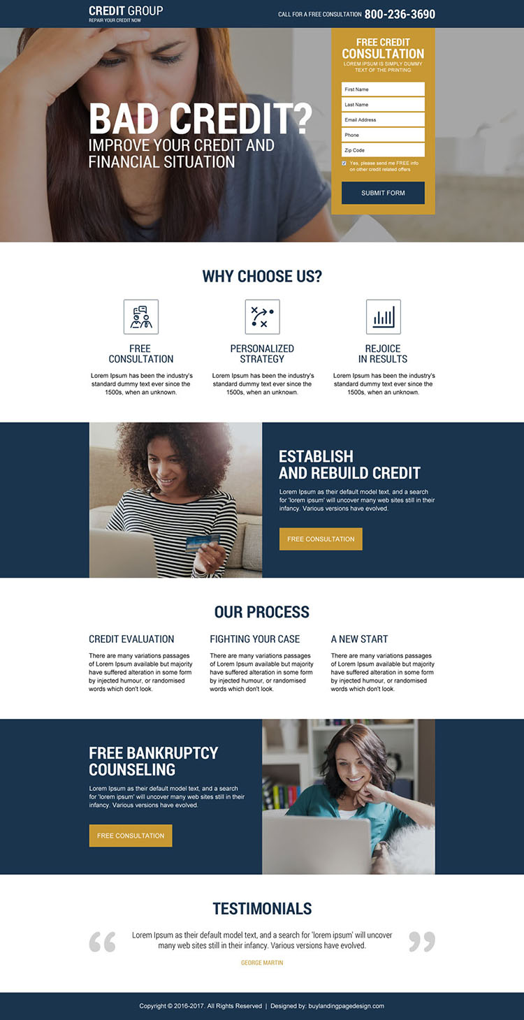 free credit repair consultation lead gen landing page