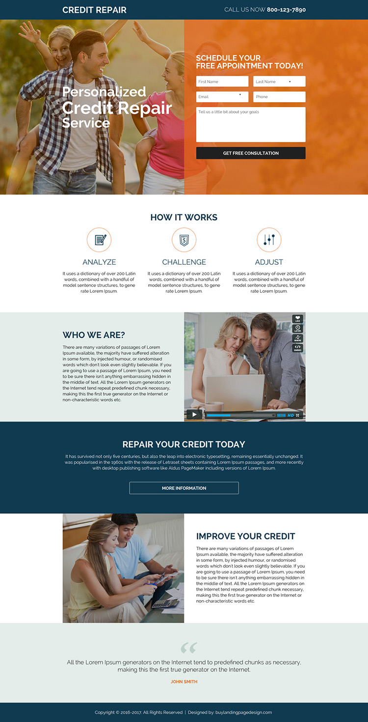 free credit repair consultation modern landing page design