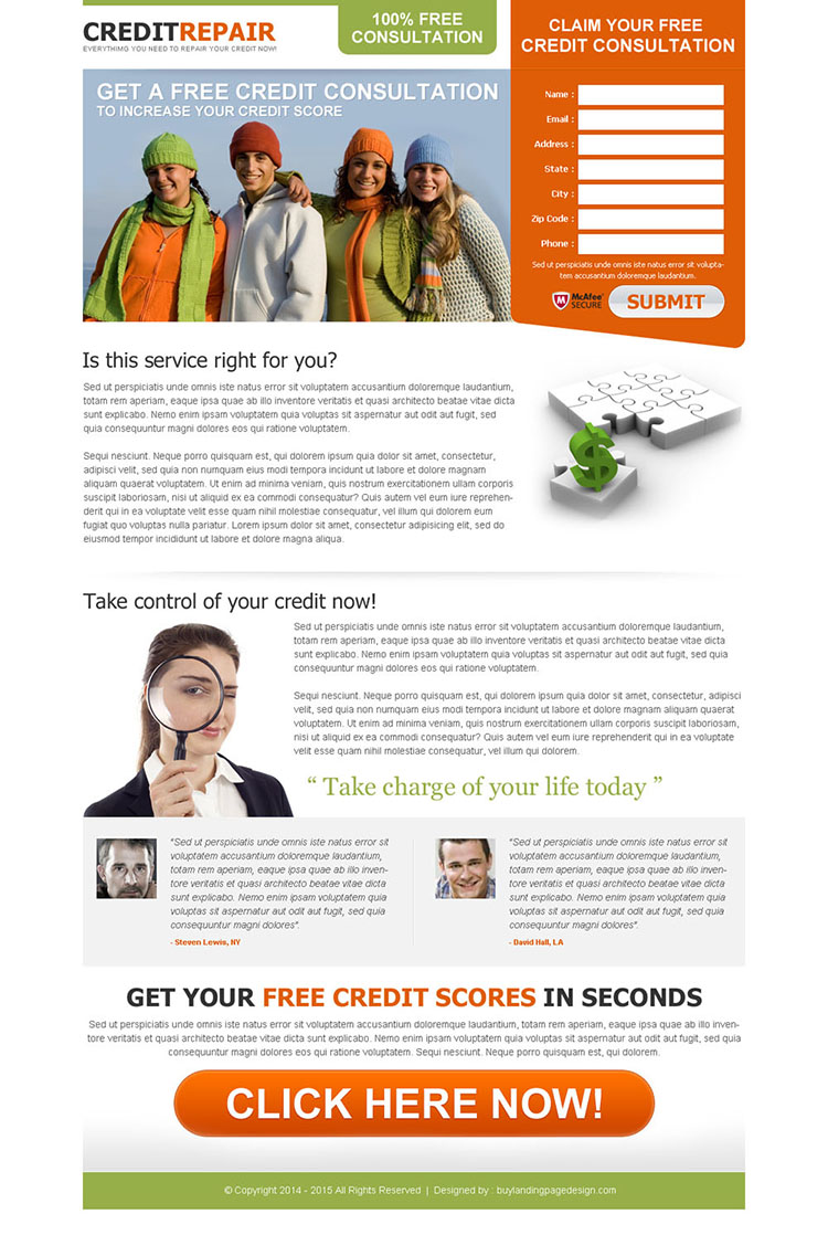 effective and converting free credit consultation squeeze page design