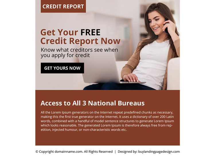 free credit report call to action ppv landing page design
