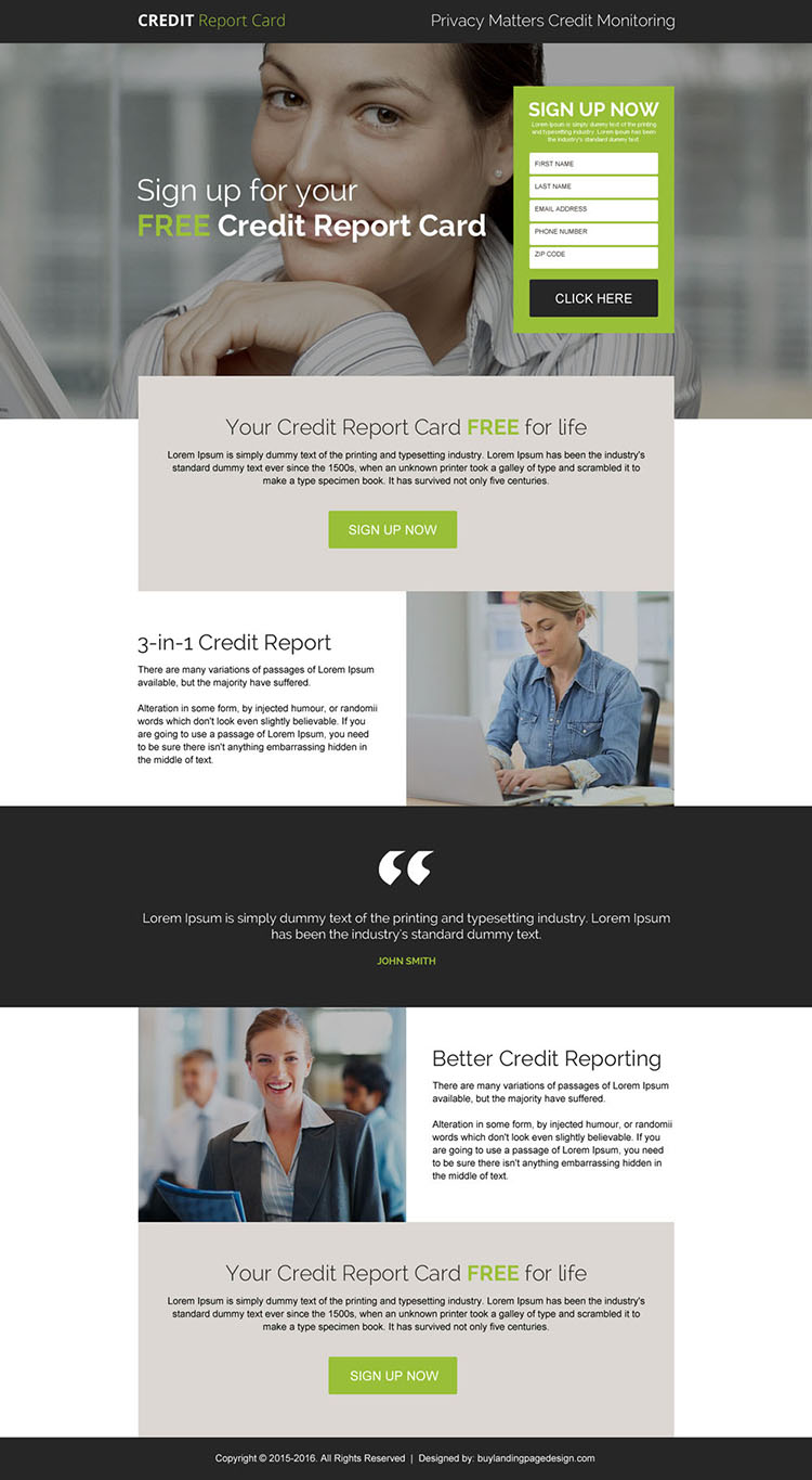 free credit report card sign up generating landing page