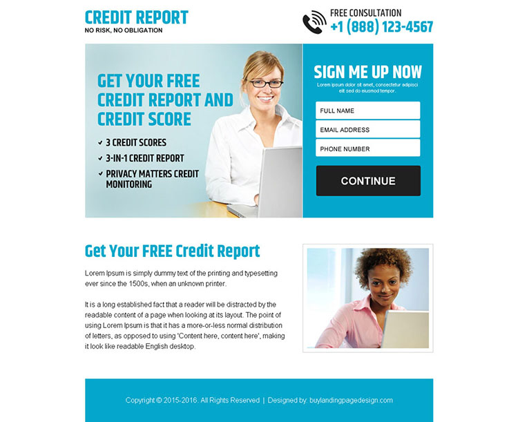 free credit report sign up lead capture ppv landing page