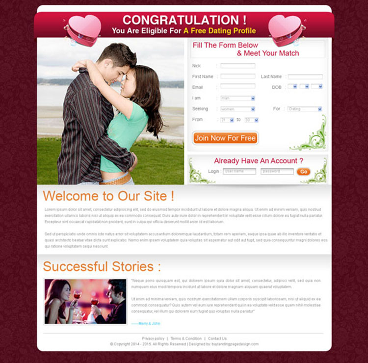 free dating simple lead capture landing page design for sale