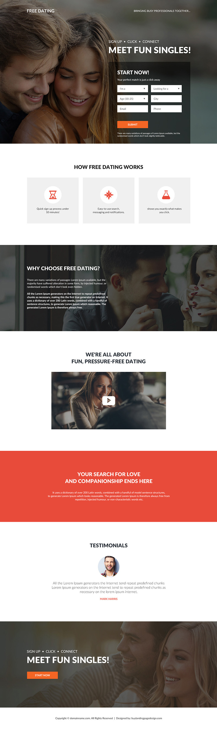 free dating sign up capturing bootstrap landing page design