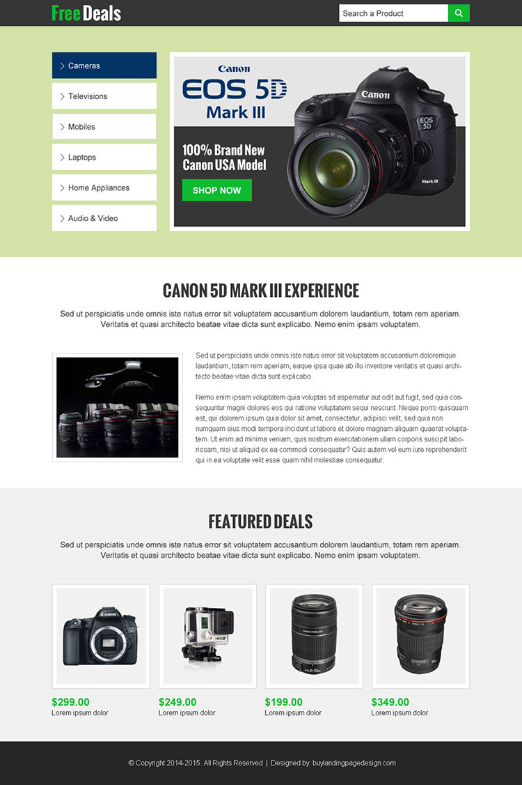 electronics product sales on free deals landing page design templates