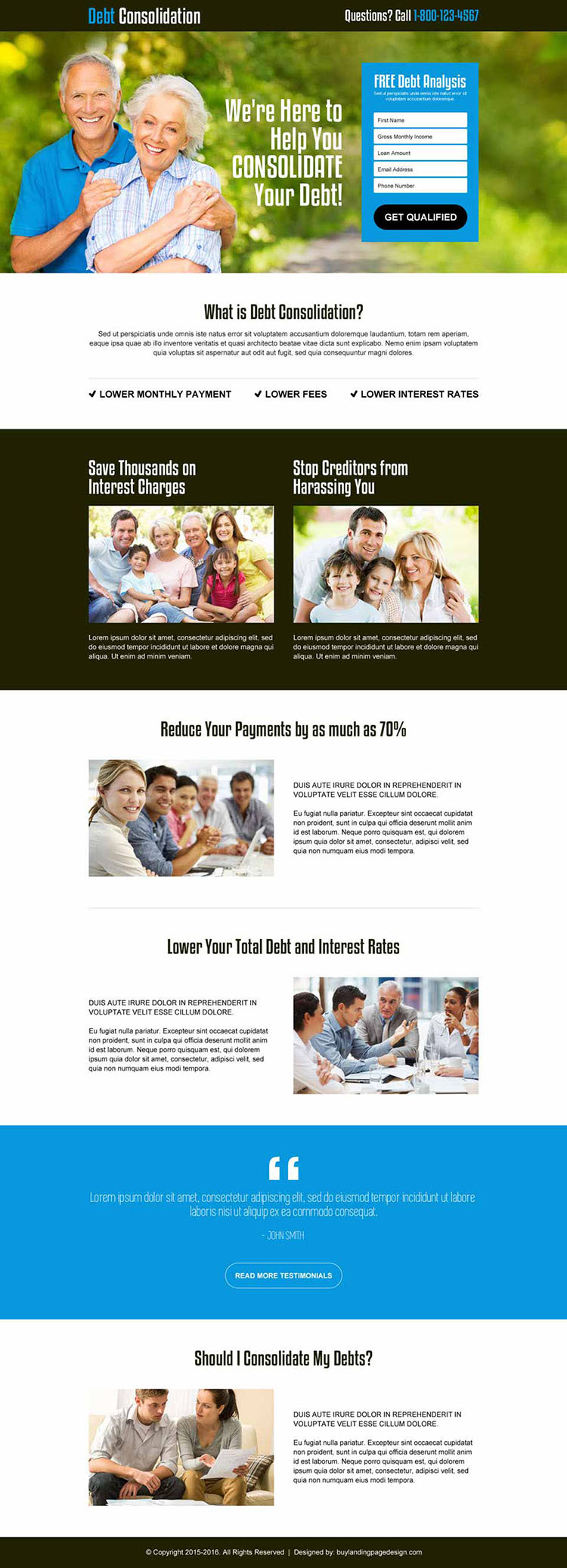 free debt analysis lead gen responsive landing page design template