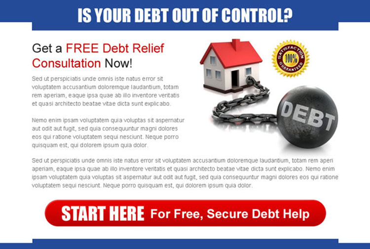 get a free debt relief consultation now appealing ppv landing page design