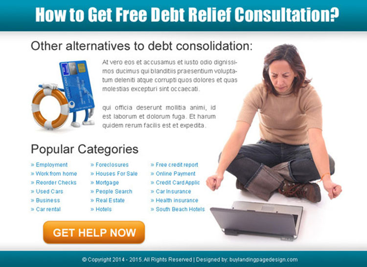 get free debt relief consultation help ppv landing page design