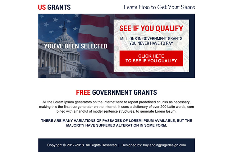 free government grants call to action ppv landing page