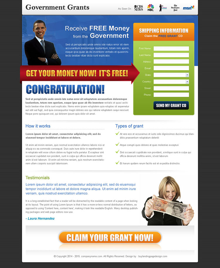 government grants for free landing page design template